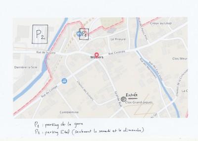 Deux parkings sont à disposition: celui de la Gare en semaine, celui d'Etel, sur la route de Boveresse,  les samedis et dimanches. Mais vous pouvez aussi venir en train...